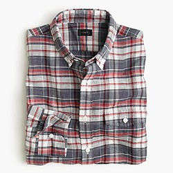 Slim end-on-end Irish cotton-linen shirt in plaid