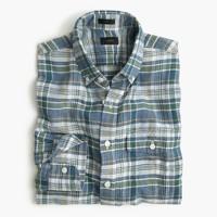 Slim end-on-end Irish cotton-linen shirt in fern plaid