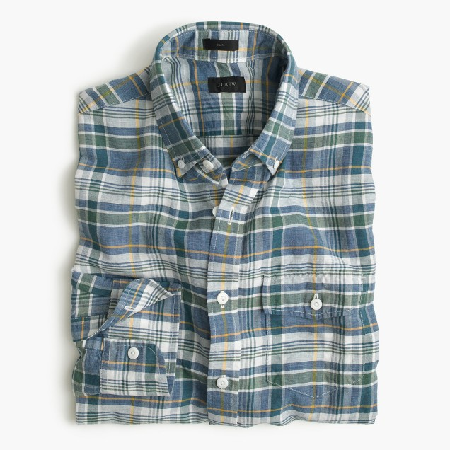Slim end-on-end Irish cotton-linen shirt in fern plaid