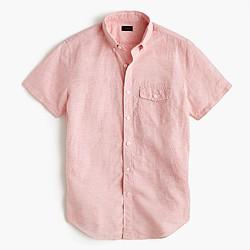 Short-sleeve shirt in striped Irish cotton-linen