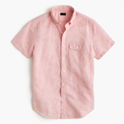 Slim short-sleeve shirt in striped Irish cotton-linen