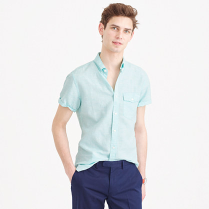 Slim short-sleeve shirt in striped Irish cotton-linen