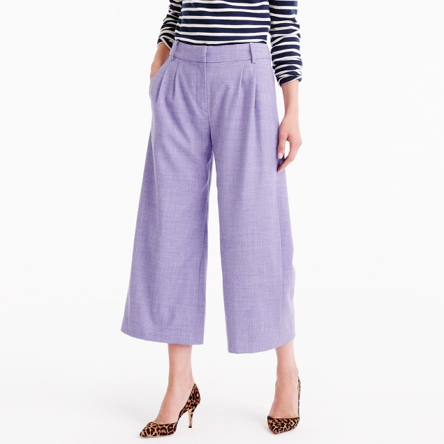 Cropped pant in heathered wool flannel
