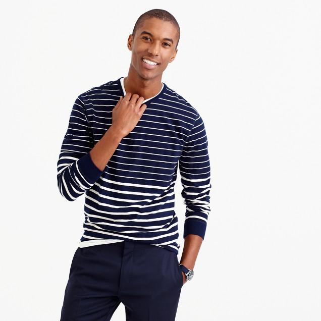 Tall long-sleeve variegated-stripe T-shirt