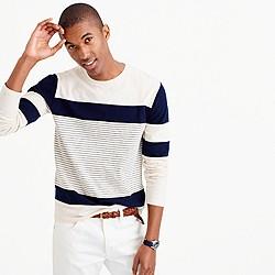 Long-sleeve mixed-stripe T-shirt
