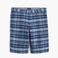 "10.5"" short in indigo plaid Irish linen"