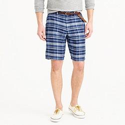 """10.5"""" club short in indigo plaid Irish linen"""