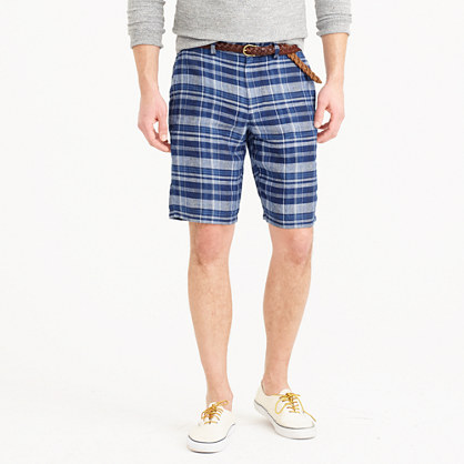"10.5"" club short in indigo plaid Irish linen"