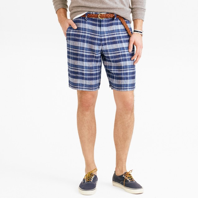 "9"" club short in indigo plaid Irish linen"