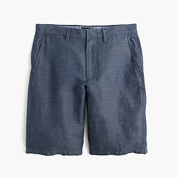"10.5"" club short in striped Irish linen-cotton"