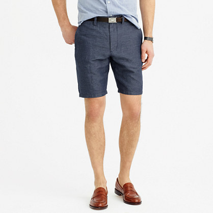 "9"" club short in striped Irish linen-cotton"