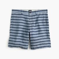 "9"" short in indigo-striped Irish linen"