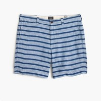 "7"" short in indigo-striped Irish linen"