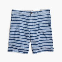 "10.5"" Stanton short in indigo-striped Irish linen"