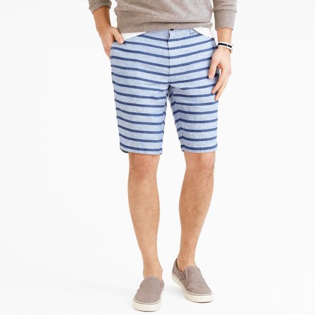 """10.5"""" Stanton short in indigo-striped Irish linen"""