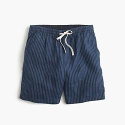 Dock short in indigo striped Irish linen