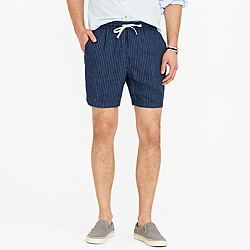 Dock short in indigo striped Irish linen