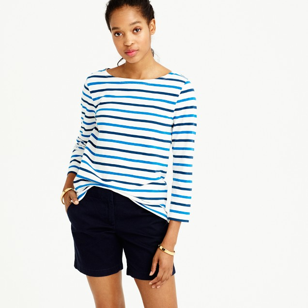 Boatneck T-shirt in multicolor stripe