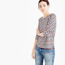 Boatneck T-shirt in multicolor stripe