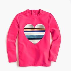 Girls' rash guard with neon-striped heart