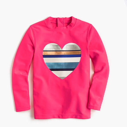 Girls' rash guard with neon-striped heart