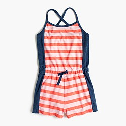Girls' striped terry romper