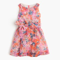 Girls' belted party dress in brushstroke marigold