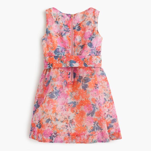 Girls' belted party dress in brushstroke marigold