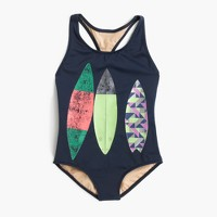 Girls' racerback one-piece swimsuit with surfboard trio