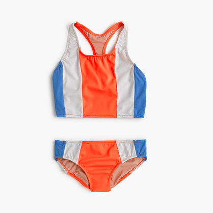 Girls' vertical colorblock tankini set