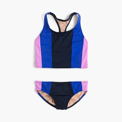 Girls' vertical colorblock tankini set