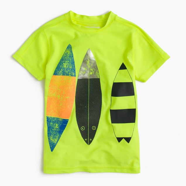 Boys' short-sleeve rash guard in surfboard trio
