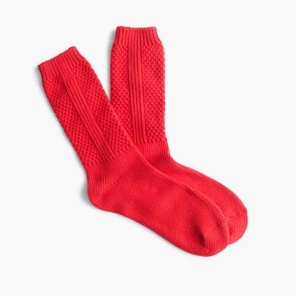 Textured solid trouser socks