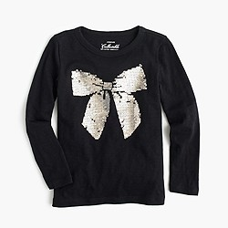 Girls' sequin bow black long-sleeve T-shirt
