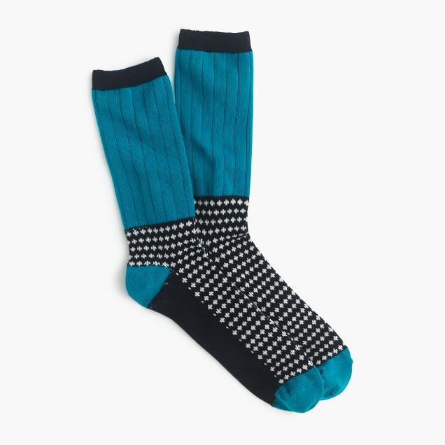 Ribbed polka-dot trouser socks