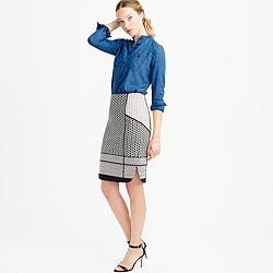 Paneled geometric jacquard pencil skirt