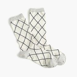 Diamond grid trouser socks
