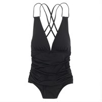 Jersey Lomellina® deep-V ruched one-piece swimsuit