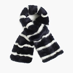 Collection faux-fur striped scarf