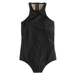 High-neck zip-back one-piece swimsuit in Italian matte