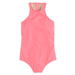 High-neck zip-back one-piece swimsuit in Italian matte