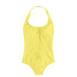 Zip-front halter one-piece swimsuit in Italian matte