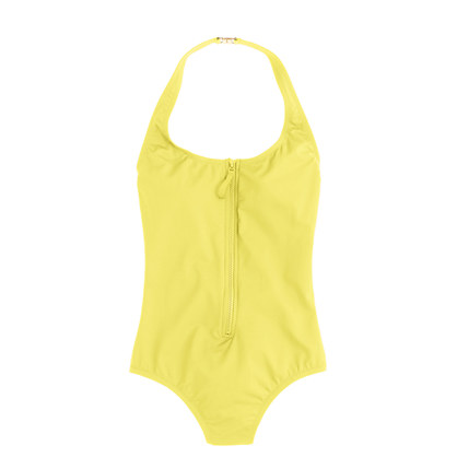 Long-torso zip-front halter one-piece swimsuit in Italian matte