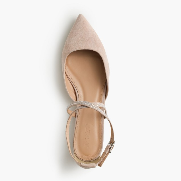 Suede cross-strap crystal flats