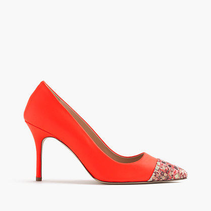 Elsie glitter mosaic cap-toe pumps