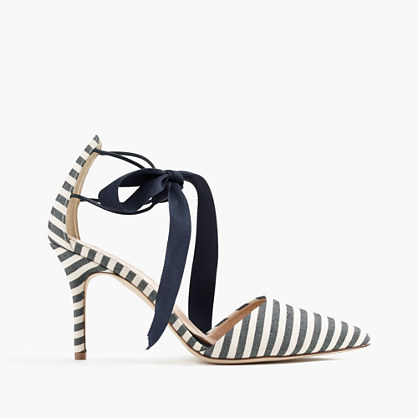 Love these bow tie striped pumps