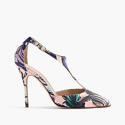 Roxie T-strap pumps in romantic floral print
