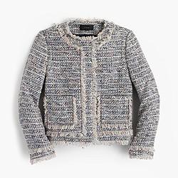 Tweed jacket with zippers