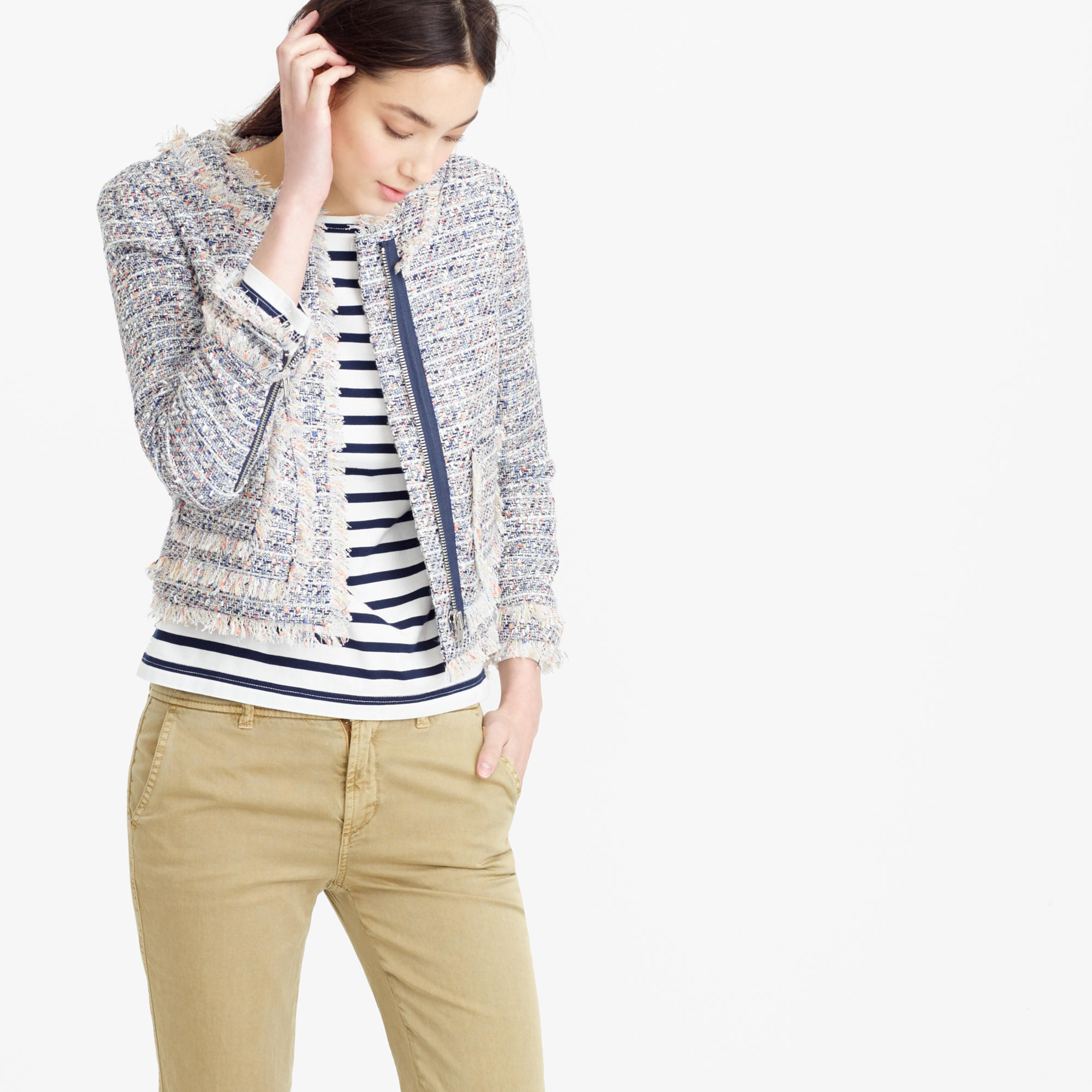 Petite tweed jacket with zippers : Women outerwear & blazers | J.Crew