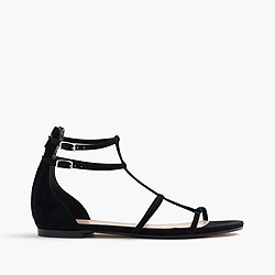 Skinny-strap gladiator sandals in suede